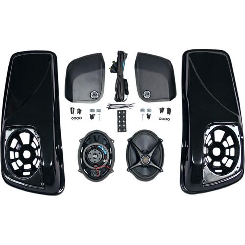 J & M Saddlebag Lid Kit with Rokker XXR Speakers for 2014-2018 Harley Touring