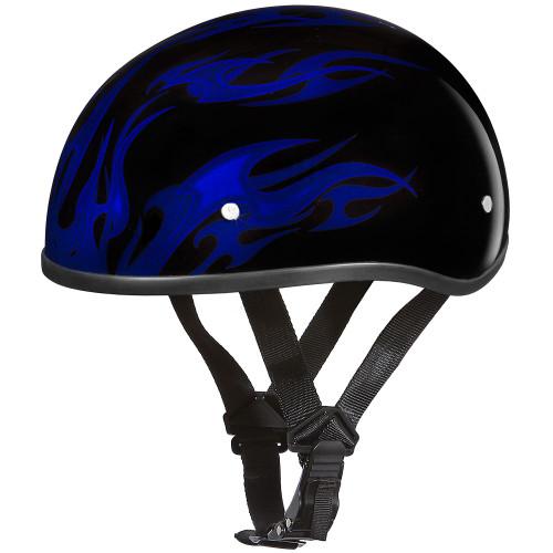 Daytona DOT Skull Helmet - Blue Flames