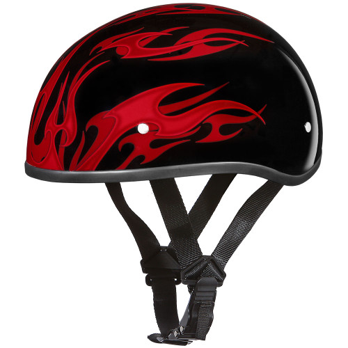 Daytona DOT Skull Helmet - Red Flames