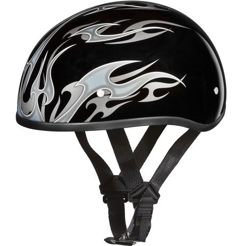 Daytona DOT Skull Helmet - Silver Flames