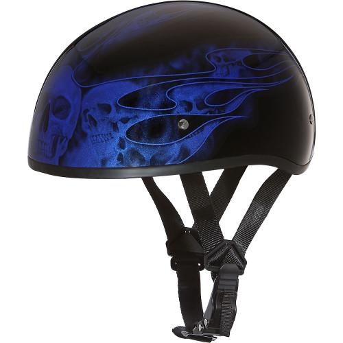 Daytona DOT Skull Helmet - Blue Skull Flames