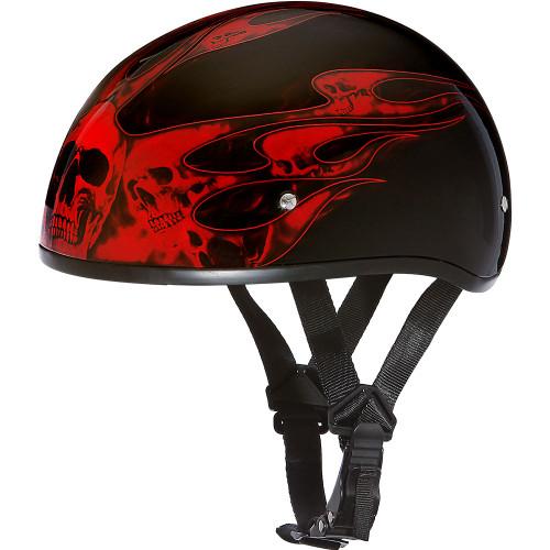 Daytona DOT Skull Helmet - Red Skull Flames