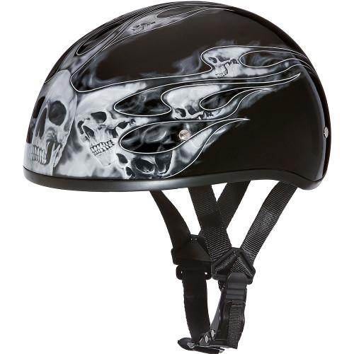 Daytona DOT Skull Helmet - Silver Skull Flames