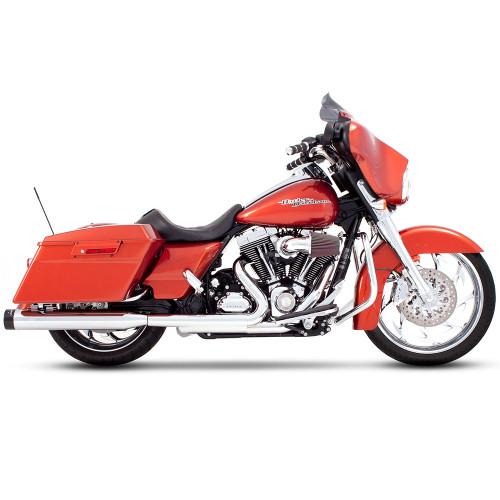 """Rinehart 4"""" Slip-On Exhaust Mufflers for 2017-2018 Harley Touring - Chrome with Black Tips"""