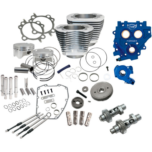 """S&S 110"""" Power Package Kit Gear Drive for 2007-2017 Harley Twin Cam - Silver"""