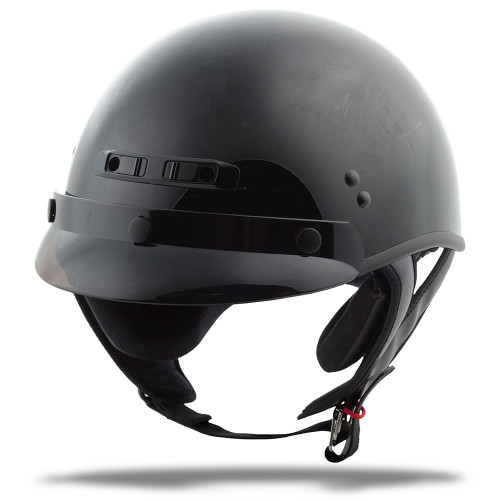 GMAX GM35 Full Dressed Half Helmet - Gloss Black