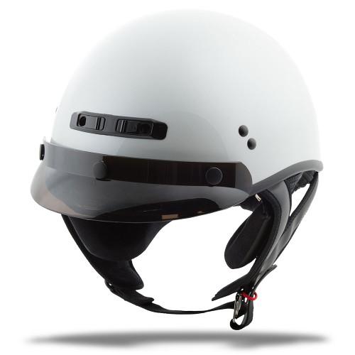GMAX GM35 Solid Full Dressed Half Helmet - Pearl White