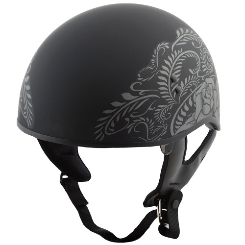 GMAX GM65 Rose Naked Half Helmet - Flat Black/Silver