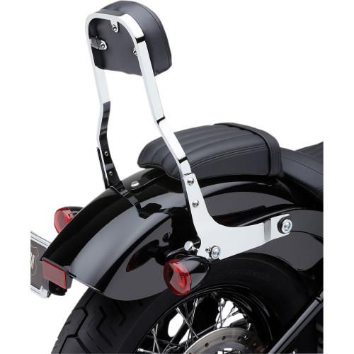 "Cobra Detachable 14"" Backrest Kit w/ Square Pad for 2018 Harley Softail - Chrome"