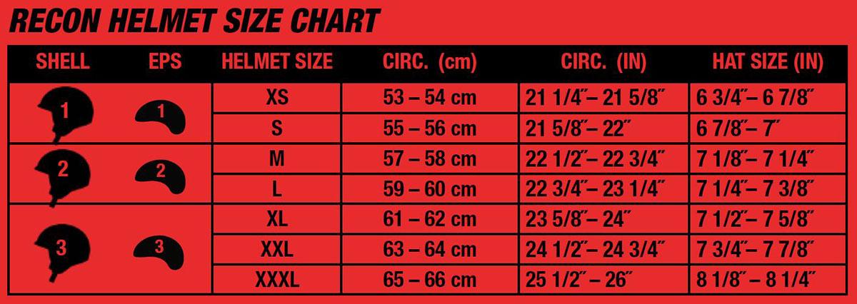 Bell Recon Helmet Size Chart