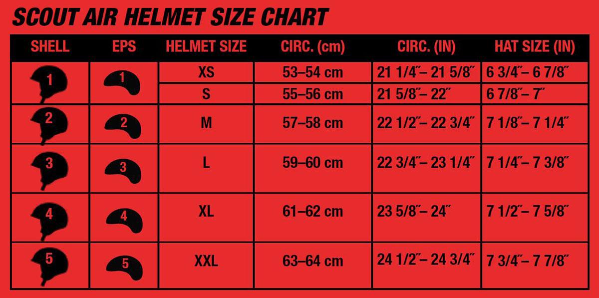 Bell Scout Air Helmet Size Chart