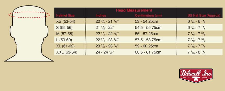 Biltwell Helmet Size Chart