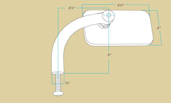 Biltwell Utility Mirror Rectangle Perch Mount - Black