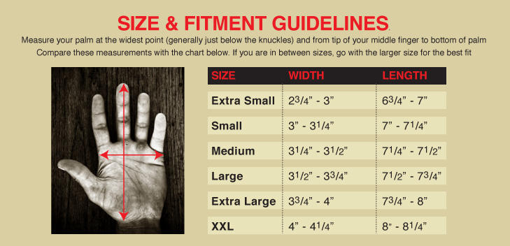 Biltwell Glove Sizing Chart