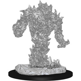 This is a pre-primed unpainted miniature of an elemental made of fire.