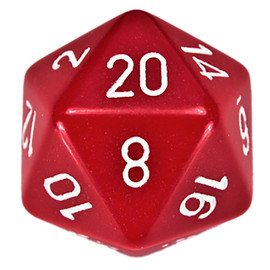 This oversized 34mm acrylic d20 die is opaque red with white-painted numbers.
