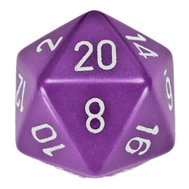 This oversized 34 mm die is an opaque purple with white-painted numbers.
