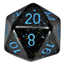 This single 34mm d20 is primarily black with randomly colored speckles and blue numbers.
