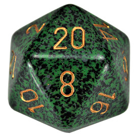 This single 34mm d20 is primarily green and black with gold paint.