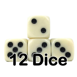 Set of 12 opaque ivory-colored D6 dice with black painted pips