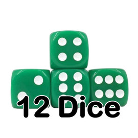 Opaque green D6 dice set (of 12 dice) with white painted pips