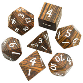 These golden sandalwood dice are real wood, giving your game a refined, or even rustic, touch.