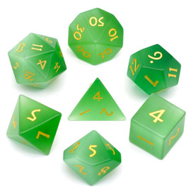 Green Cat eye dice set with gold painted numbers