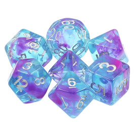 Translucent blue dice set with purple swirls and silver painted numbers