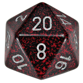 Speckled Silver Volcano 34mm 20-sided die with silver numbers.