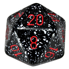 This single 34mm d20 is primarily black with white speckles and red numbers. It is blacklight reactive.