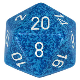 One 34mm d20 featuring speckled blue with white paint.