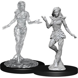 This an unpainted miniature of a Nymph and a pre-primed, unpainted miniature of a Dryad