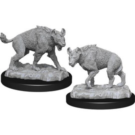 These are pre-primed unpainted miniatures of hyenas, one is facing left the other is facing right.