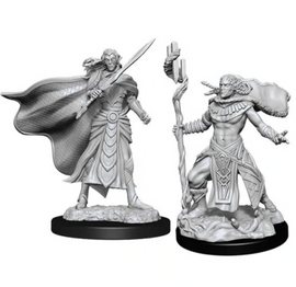 These are two pre-primed unpainted elf figures, one a fighter, the other a cleric.