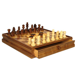 15-inch Walnut-Maple Wood Chess Set with Drawer
