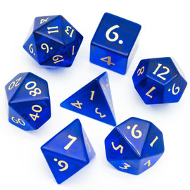 These vivid blue glass dice come packaged in a black leatherette hexagonal box.