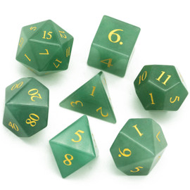 These green stone dice come attractively packaged in a black hexagonal storage box.