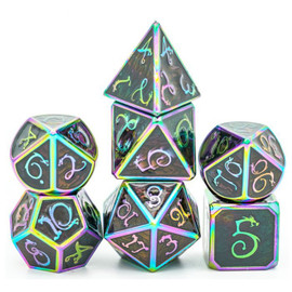 These dark-gray enameled metal dice have rainbow vertices and numbers.