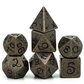 These hefty zinc alloy dice are colored like ancient copper, and have a stylized dragon font in black.