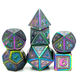 These heavy, metal dice are slightly oversized. They have a rainbow mermaid scale pattern.