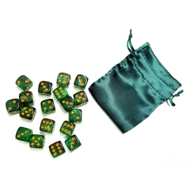 """This is a set of 18 D6 pipped dice plus a coordinating 3"""" x 4"""" dice bag. These dice are a translucent, super-sparkly mid of greens with gold-painted pips."""
