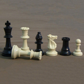 3.75 Inch Plastic Chessmen Pieces in a Glass Box