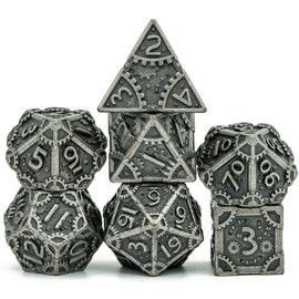 Barrel plated metal dice with an antiqued silver look and steampunk type gear accents
