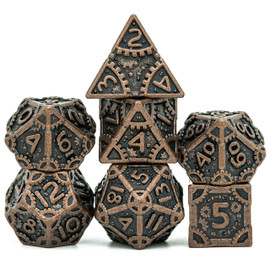 Barrel Plated Vintage-Look Coppery Steampunk Metal Dice (7 Dice)