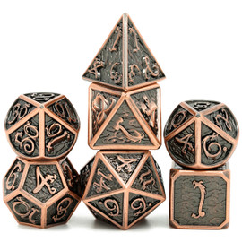 Bright coppery metal dice with a dragon font over a darkened cloudy background