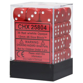 Set of 36 d6 12mm: dice in red with white pips.