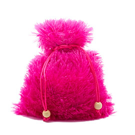 """Fuzzy hot pink dice bag about 5"""" by 7"""" in size"""