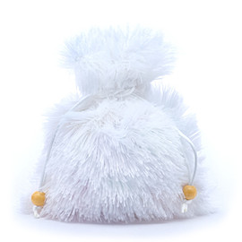 """Fuzzy white dice bag about 5"""" by 7"""" in size"""