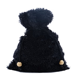 """Fuzzy black dice bag about 5"""" by 7"""" in size"""