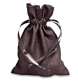 """Black faux microsuede dice bag about 5"""" x 8"""" in size."""